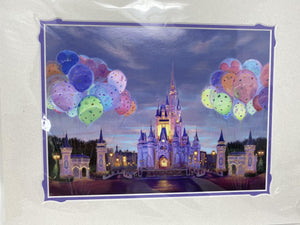 "Disney World ""Celebrate"" 11x14 Cinderella Castle with Balloons Print -by Rosemary Begley"