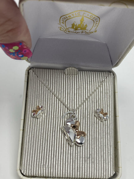 Disney Minnie Ear Hat Necklace and Earring Set in Silver with Rose Gold