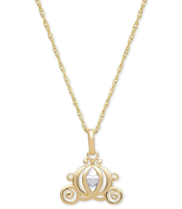"Disney Cinderella Carriage 15"" Pendant Necklace in 14k Gold"