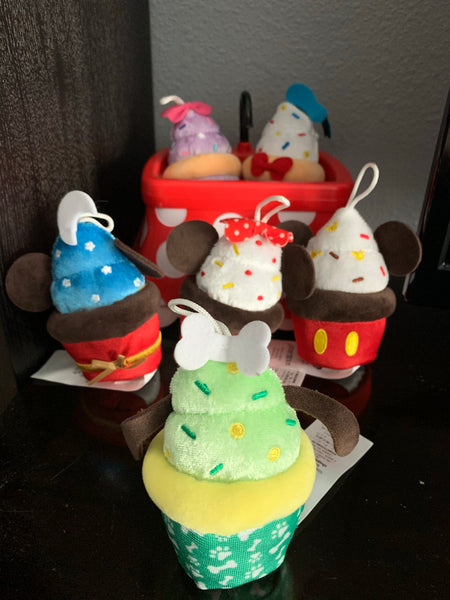 Disney Mickey, Minnie, Donald, Daisy, or Pluto Micro Snack Plush Cupcake Ornament