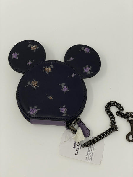 Disney Springs Parks COACH Mickey Coin Purse Keychain Clip