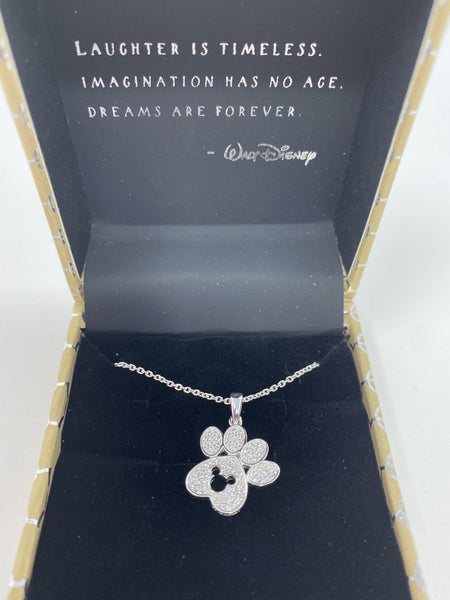 Disney Rebecca Hook Mickey Paw Print Sterling Silver Necklace
