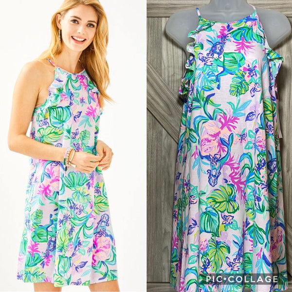 Lilly Pulitzer Billie Ruffle Dress Amethyst Tint Mermaid In the Shade