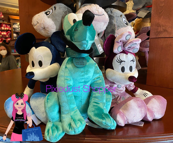 Disney Colored Blue Mickey, Purple Minnie, or Teal Pluto Plush