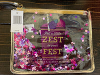 Disney Epcot Flower and Garden 2019 Zest In the Fest Glitter Pouch Wristlet