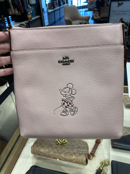 Disney x COACH Minnie Mouse Kitt Crossbody White Pebble Leather Purse