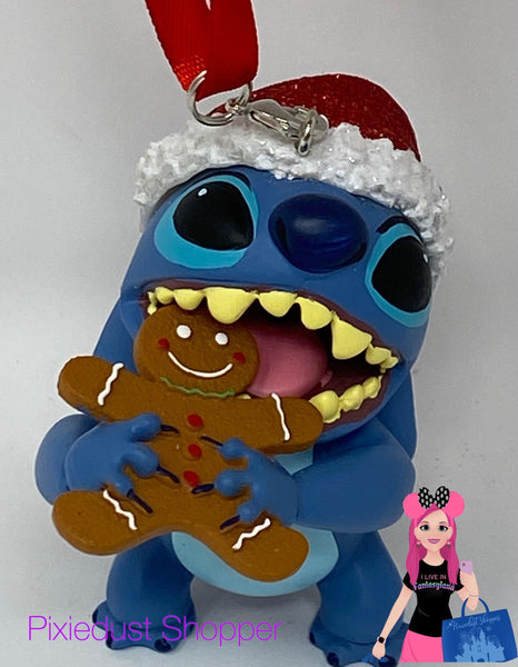 Disney Glitter Santa Stitch with Gingerbread Cookie Ornament