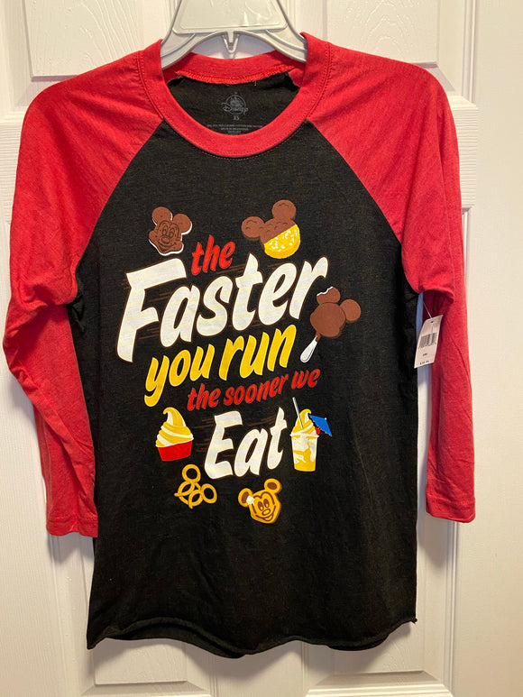 RunDisney - The Faster you Run the Sooner we Eat - Snack Raglan Men's Unisex Shirt