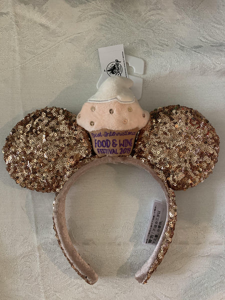 Disney 2019 Epcot Food and Wine Festival Cupcake Rose Gold Sequin Ear Headband
