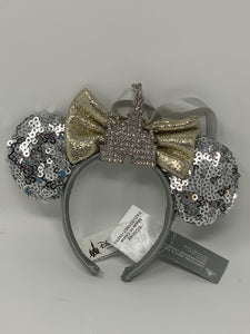 Disney Silver Sequined Castle Ear Minnie Ear Headband Ornament