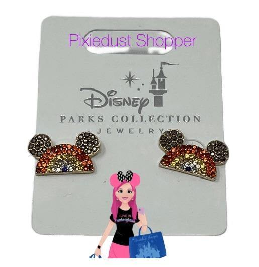 Disney Parks Jewelry Collection-Rainbow Mickey Ear Crystal Earrings