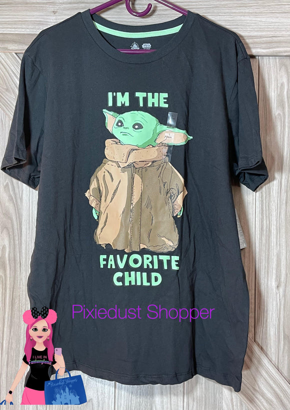 Disney Star Wars Baby Yoda I'm The Favorite Child Adult Shirt