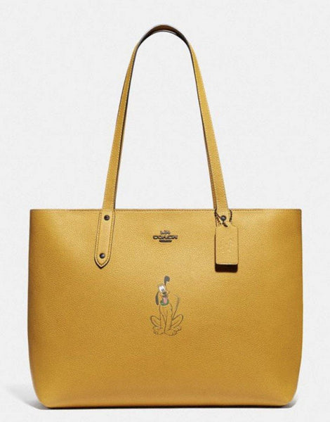 Disney X COACH Pluto Central Tote Bag Purse with Zip Closure