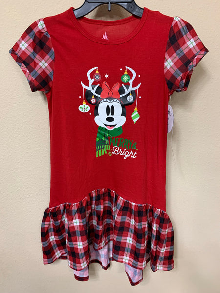 Disney Merry & Bright Minnie Reindeer Girls Pajama Nightgown Dress