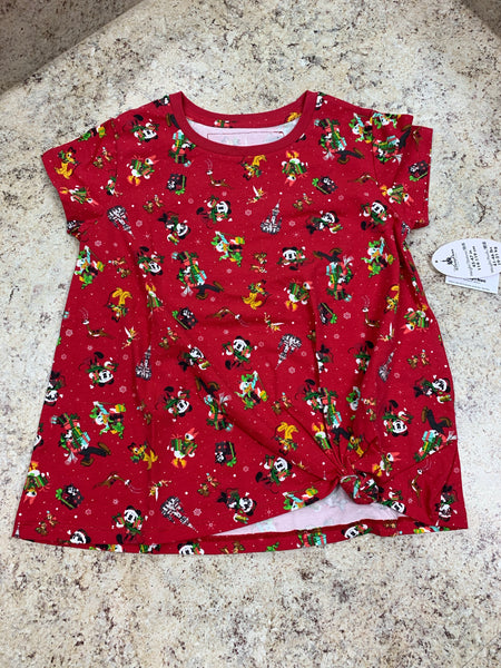 Disney World Mickey, Minnie, Tinkerbell, Donald Girls Knotted Holiday Christmas Shirt