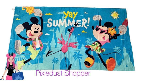Disney Yay Summer Flamingo Mickey and Minnie Beach Towel