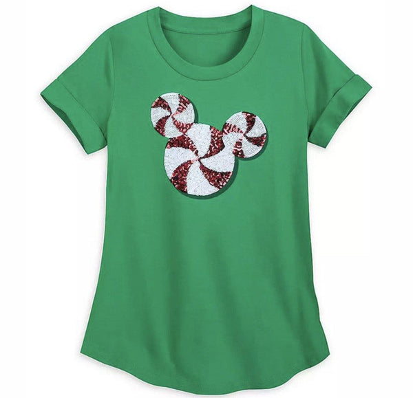 Disney Mickey Sequin Peppermint Ladies Shirt