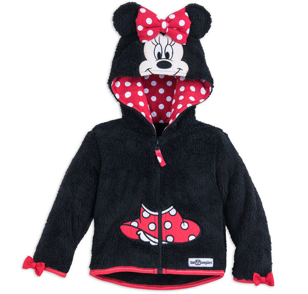 Disney World Fuzzy Fleece Minnie Zip Up Kids Hoodie Jacket Sweatshirt