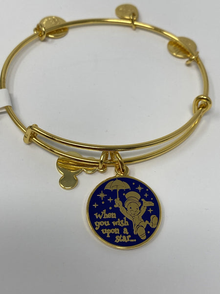 Disney Jiminy Cricket When you Wish Upon a Star Gold Alex and Ani Bracelet