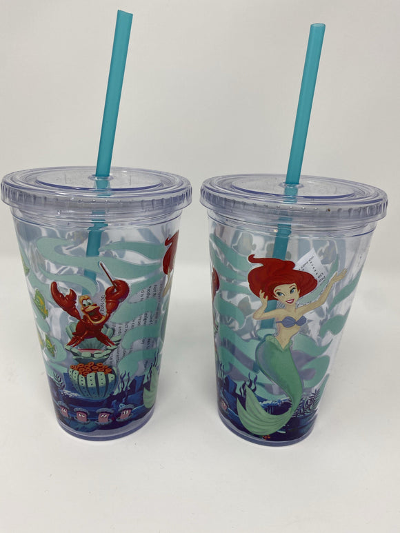 Disney Little Mermaid Ariel Sebastian Travel Tumbler with Straw