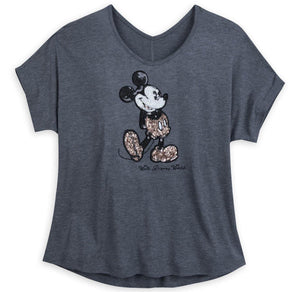 Disney World Briar Rose Sequin Mickey Ladies Shirt