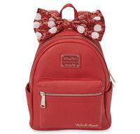 Disney Loungefly Minnie Mouse Red Backpack Purse with Red Sequin Bow