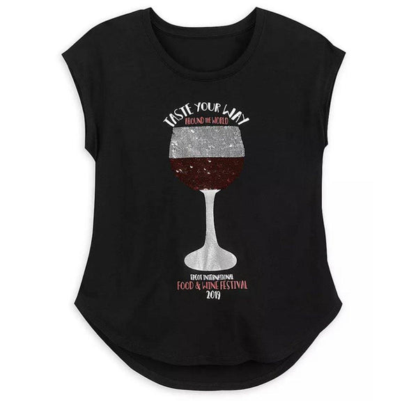 Disney 2019 Epcot Food and Wine Festival Flip Sequin Ladies Red/White Wine Shirt
