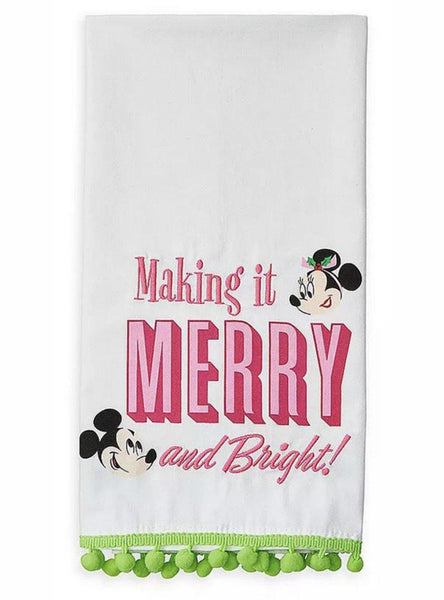 Disney Minnie and Mickey Making it Merry and Bright Retro Holiday Tea Towel