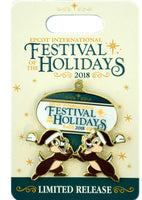 Disney Festival Of The Holidays Pin - 2018 Chip And Dale Logo