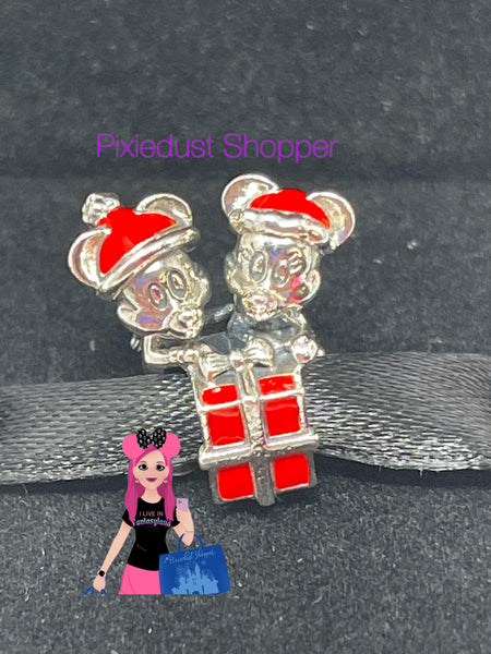Disney Mickey and Minnie Holiday Present Pandora Charm