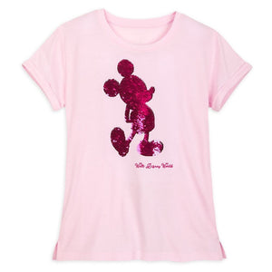 Disney World Imagination Pink Mickey Flip Sequin Shirt
