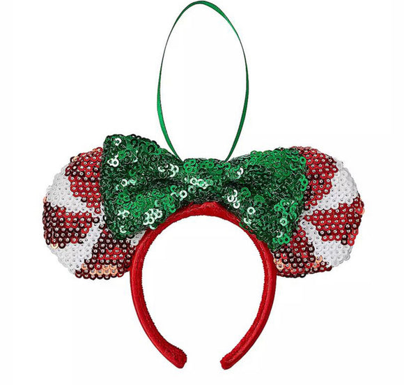 Disney Sequin Peppermint Minnie Ears Christmas Ornament