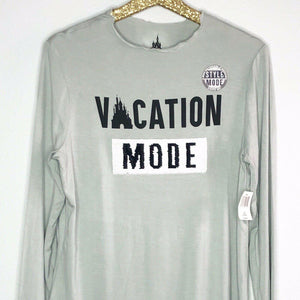 Disney Parks Womens Shirt Vacation Mode Vacation Style Flip Sequin