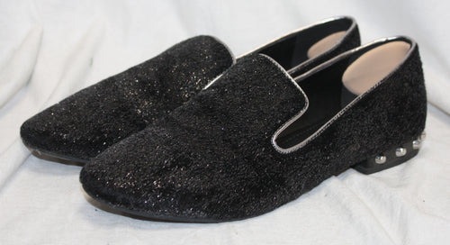 Marc Fisher Black and Silver Velvet Smoking Loafer w/ Silver Stud Accents on Heels Size 7.5M