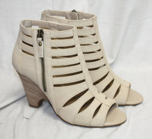 Load image into Gallery viewer, Crown Vintage Brand Light Buff Vegan leather Gladiator Semi Wedge Heel Sandal Size 6.5