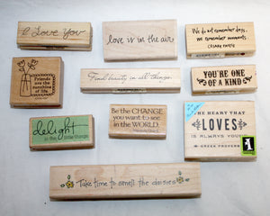 10 PCs Decorative Papercraft Stamps- Inspiration and Love