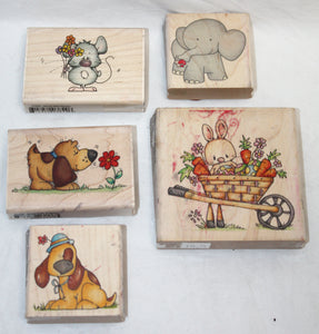 5 pcs Whipper Snapper Designs Decorative Papercraft Stamps - Cute Animals