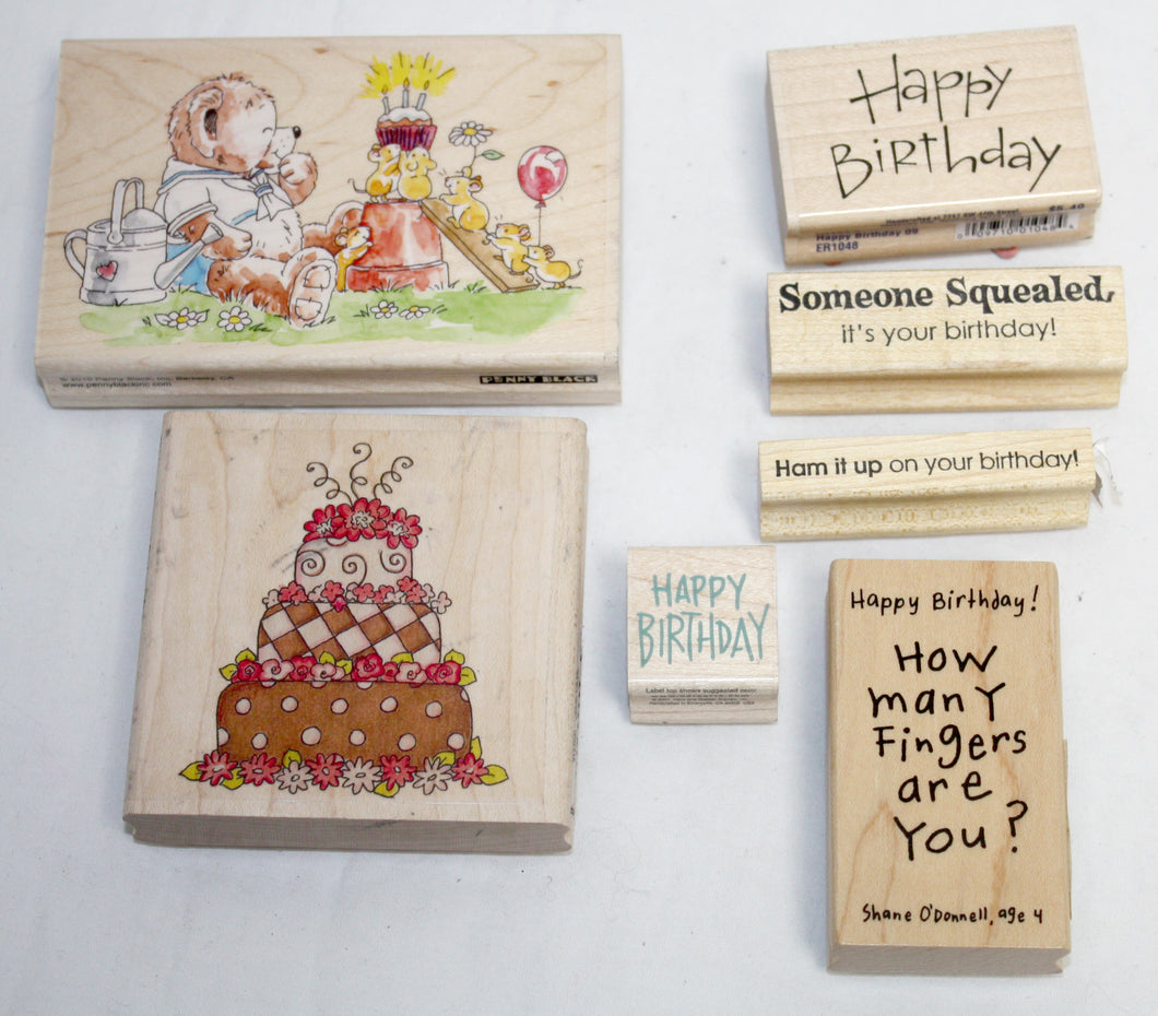 7 Pcs Decorative Stamps - Happy Birthday Bundle