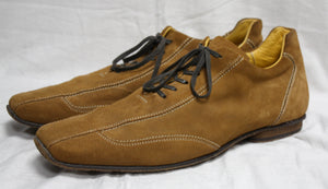 Canali Medium Yellow Tones Brown Square Toe Lace Up Shoe SIze 46 (Mens 11)