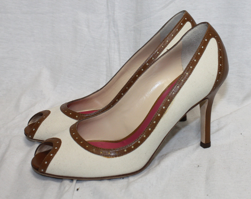 Kate Spade New York Cream Linen and Brown Leather Peep Toe Pump Size 6M
