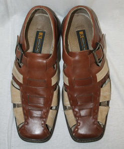 Stacy Adams Brown and Tan Leather and Canvas Closed Toe Fishermans Sandals Size 9M
