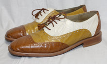 Load image into Gallery viewer, Giorgio Brunini Private Collection Cream, Mustard and Brown w/ Tassel Laces Oxfords Size 10.5