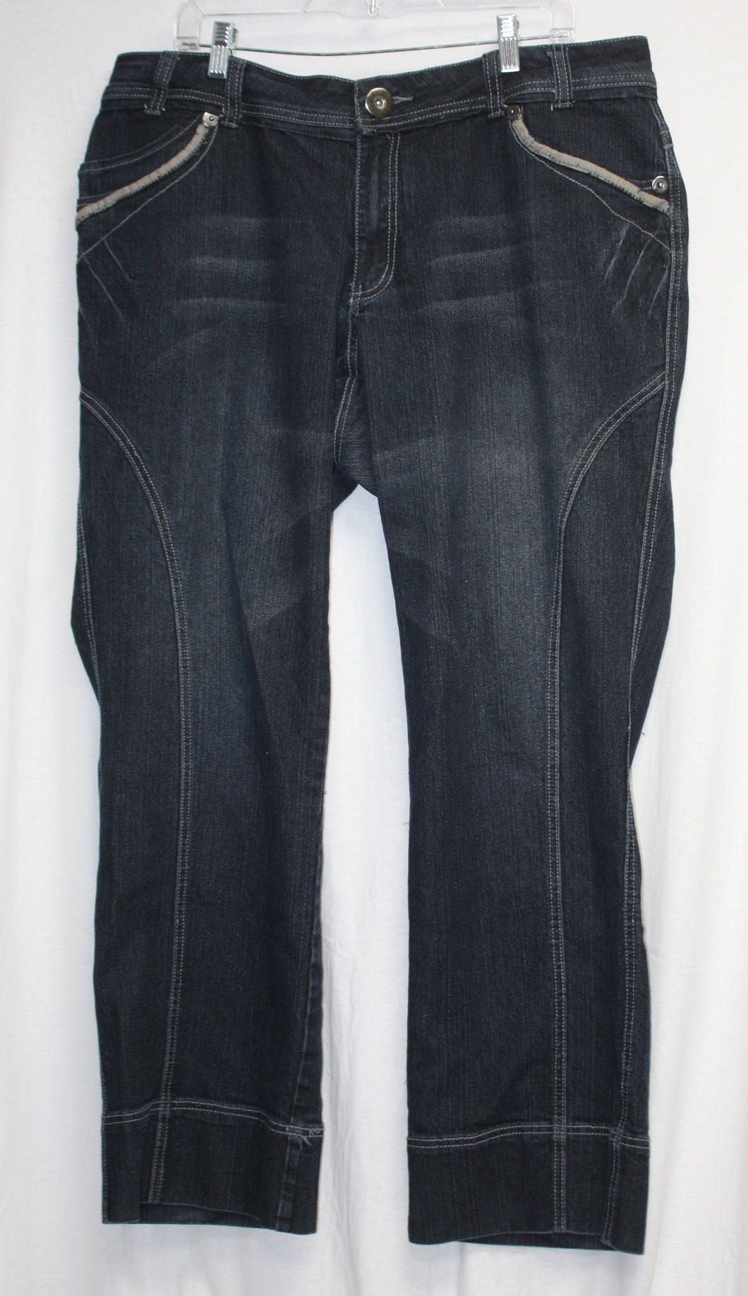Lane Bryant Venezia Dark Blue w/ Black Overwash Jeans Size 20