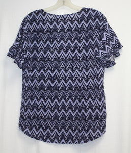Ellie Kai  100 % SILK Blue Fluted Short Sleeved Blouse Size S NEW w/ Tags