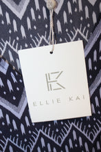 Load image into Gallery viewer, Ellie Kai  100 % SILK Blue Fluted Short Sleeved Blouse Size S NEW w/ Tags
