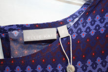 Load image into Gallery viewer, Ellie Kai  100 % SILK Blue/Violet/Red Tier Sleeved Blouse Size 0 NEW w/ Tags