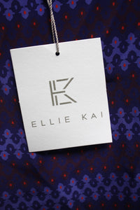 Ellie Kai  100 % SILK Blue/Violet/Red Tier Sleeved Blouse Size 0 NEW w/ Tags