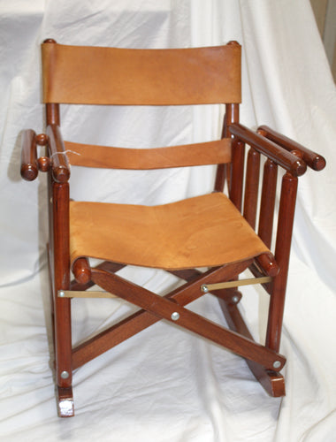 Unique Fold Up Children's  Brown Wood and Leather Rocking Chair