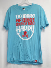 "Load image into Gallery viewer, Johnny Cupcakes Blue ""Do more of what makes you happy"" T-Shirt Size L"