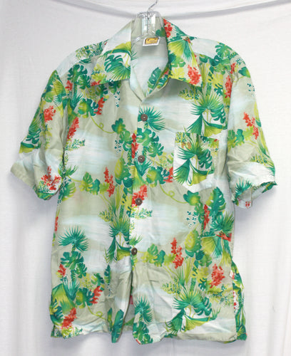 Vintage Hang Ten Green/Multi Tropical Button Up Size S